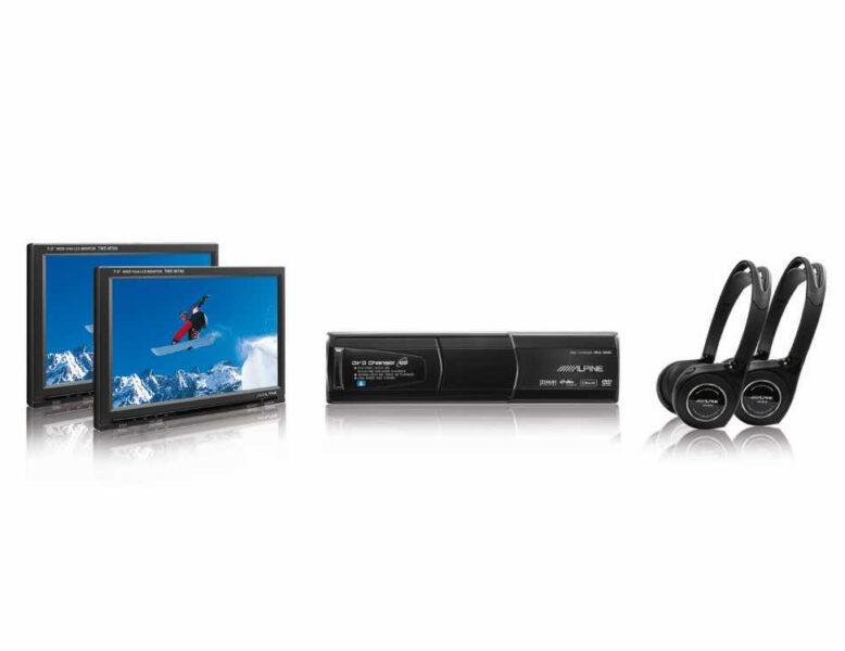Alpine TME-M780 7″ Headrest Monitor Kit + DHA-S690 DVD Changer + Headphones