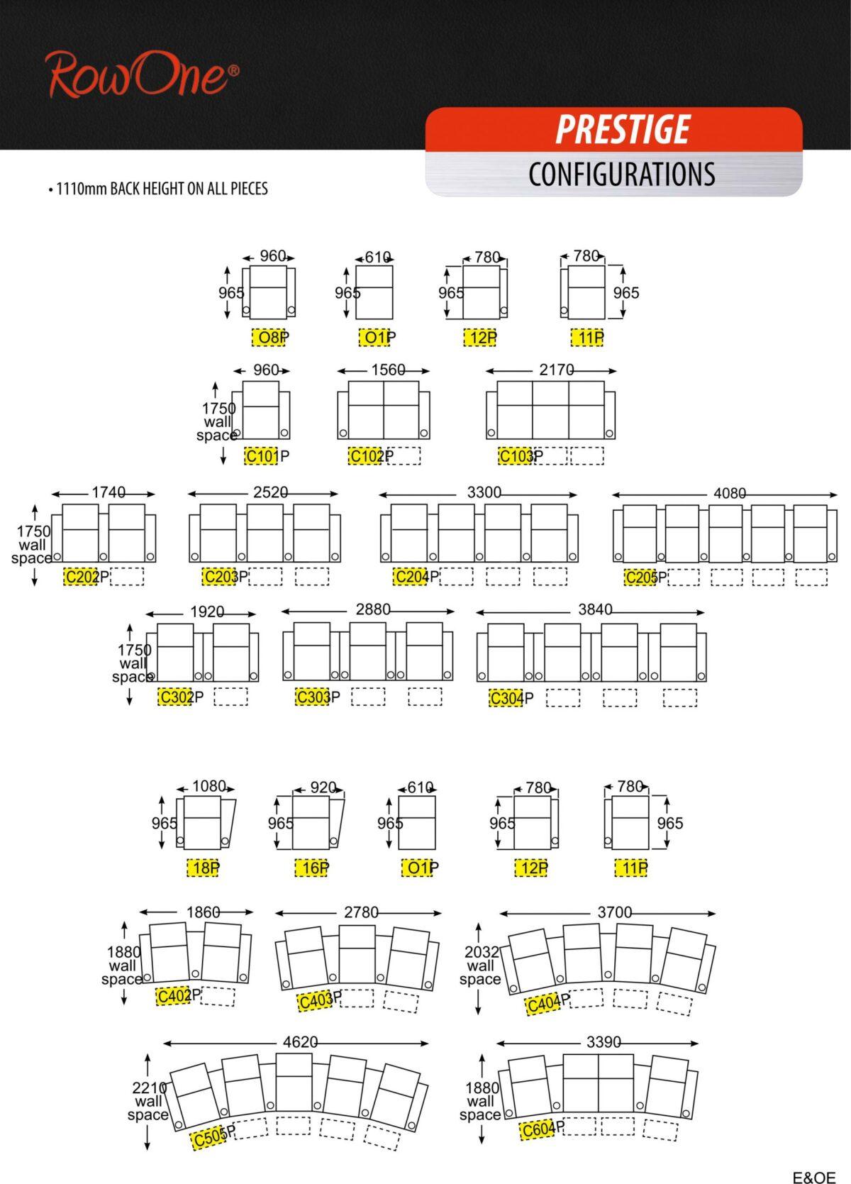 Row One Prestige Series Cinema Seats - Configurations