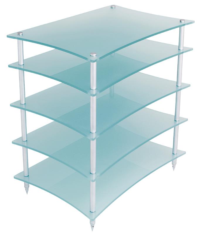 Quadraspire Q4 EVO Hi-Fi Equipment Rack 5 Shelves Frosted Glass