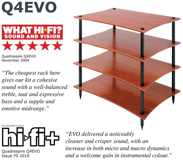 Quadraspire Q4 EVO Hi-Fi Equipment Rack Cherry with What Hi-Fi Review