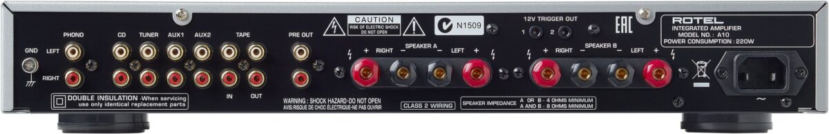 Rotel A10 Integrated Amplifier - Rear Connections