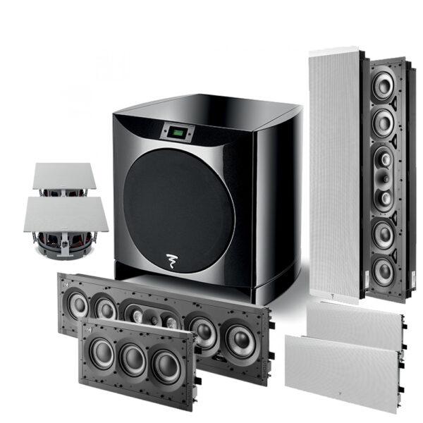 5.1 1000 Series Focal IWLCR+IWSUB In-Wall Speakers Package