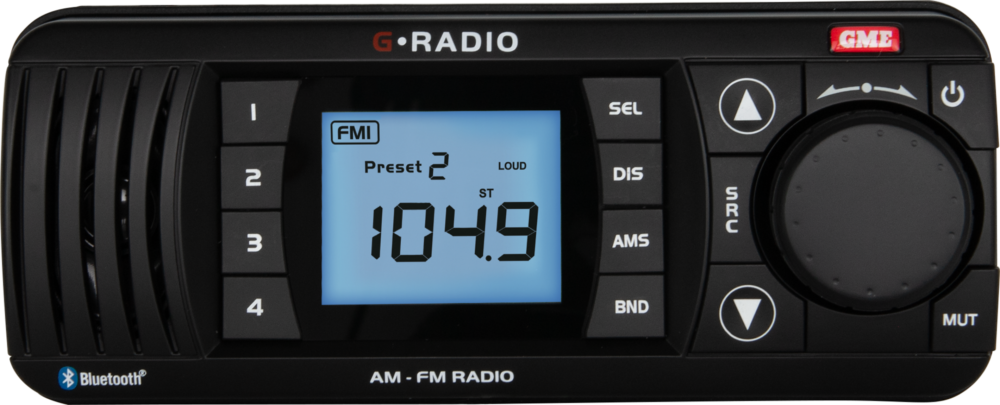 GME AM/FM IP67 Marine Stereo with Bluetooth