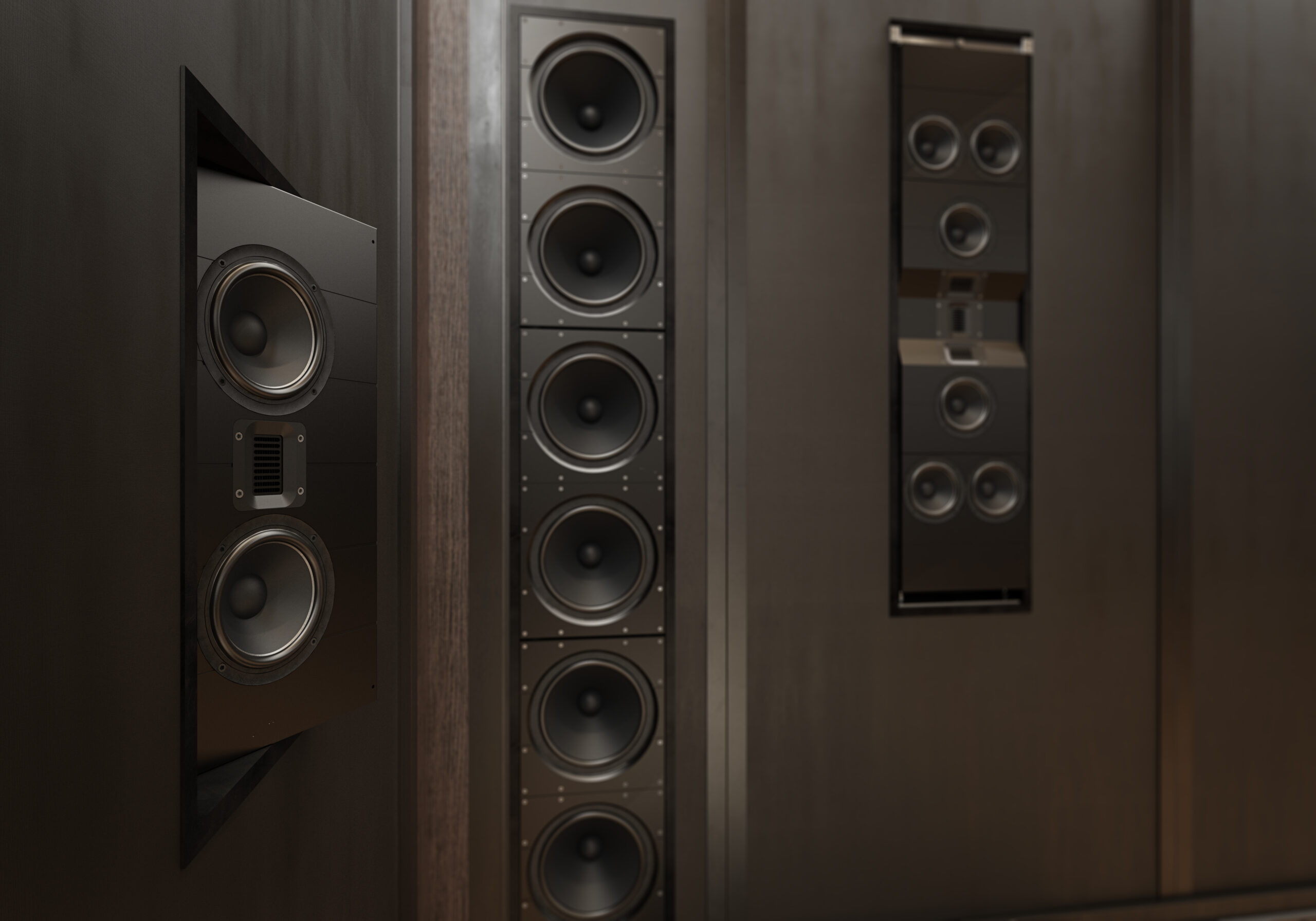 Iw 66 And Ic 26 Home Theater Closeup Of Angled Wide Front Speaker