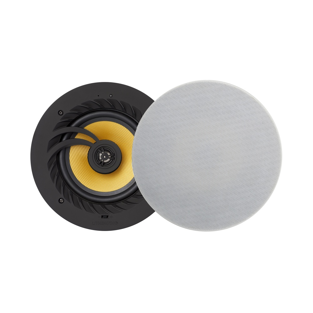 Pair Lithe Audio Bluetooth Ceiling Speaker Pair Front White Grille