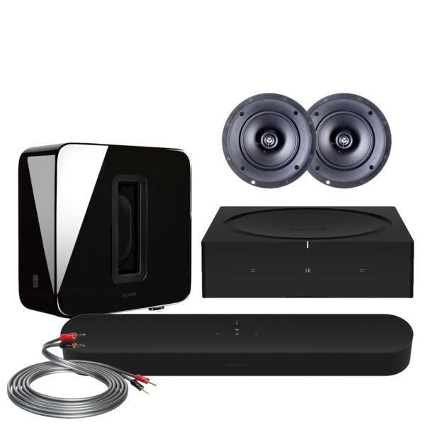 Sonos Beam GEN2 Custom Surround Pack w/ Paradigm In-Ceiling Speakers