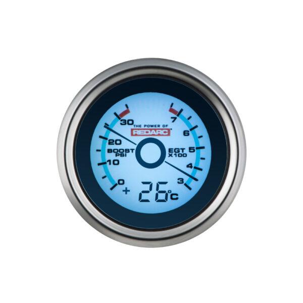REDARC G52-BET EGT & Boost Pressure 52MM Gauge With Optional Temperature Display