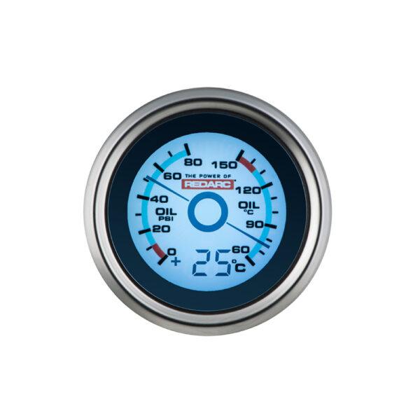 REDARC G52-POT Oil Pressure & Oil Temperature 52MM Gauge With Optional Temperature Display