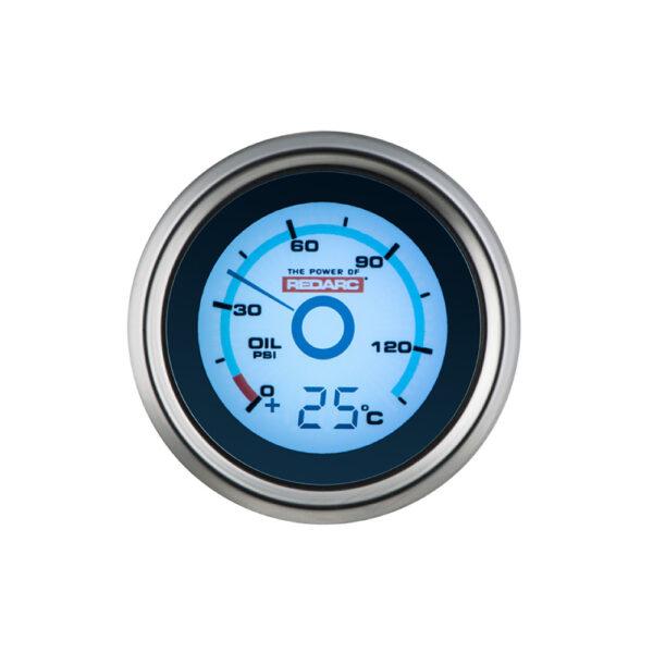 REDARC G52-PT Single Oil Pressure 52MM Gauge With Optional Temperature Display