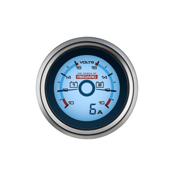 REDARC G52-VVA – Dual Voltage 52MM Gauge With Optional Current Display